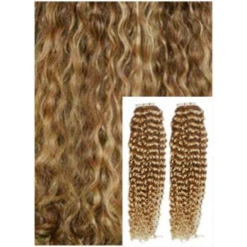 Kudrnaté vlasy k prodloužení tape in, 50 cm, 40 ks - PŘÍRODNÍ / SVĚTLEJŠÍ BLOND