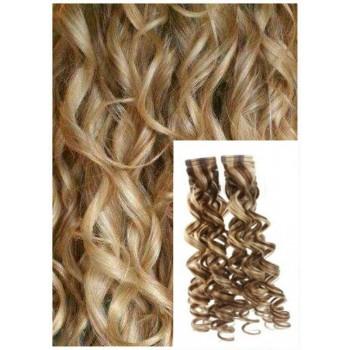 Kudrnaté vlasy k prodloužení tape in, 50 cm, 40 ks - SVĚTLÝ MELÍR