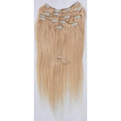 Tmavé blond vlasy k prodloužení - Clip in set, 8 ks, 50 cm (027)