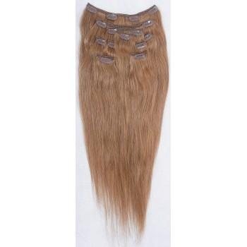 Světle hnědé vlasy k prodloužení - Clip in set, 8 ks, 50 cm (012)