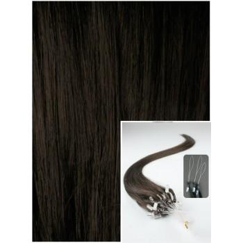 Micro ring vlasy, 40 cm 0,7g/pr., 50 pramenů - TMAVĚ HNĚDÉ