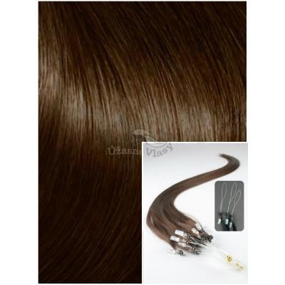 Micro ring vlasy, 40 cm 0,7g/pr., 50 pramenů - STŘEDNĚ HNĚDÉ