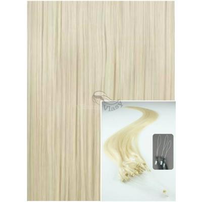 Micro ring vlasy, 40 cm 0,7g/pr., 50 pramenů - PLATINOVÉ
