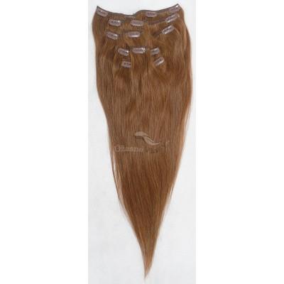Kaštanové vlasy k prodloužení - Clip in set, 8 ks, 50 cm (008)