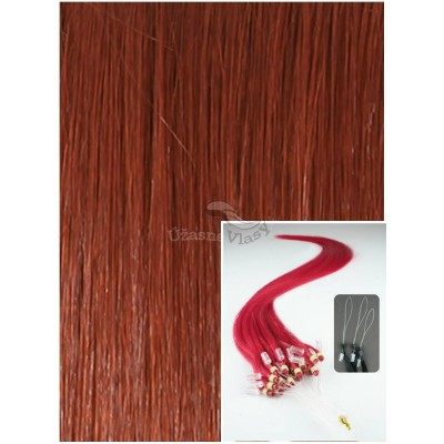 Micro ring vlasy, 50 cm 0,7g/pr., 50 pramenů - MĚDĚNÉ