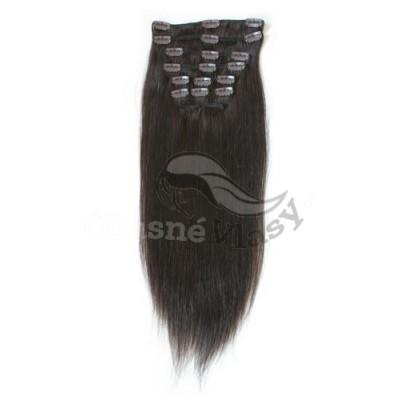 Tmavě hnědé vlasy k prodloužení - Clip in set, 8 ks, 50 cm (002)
