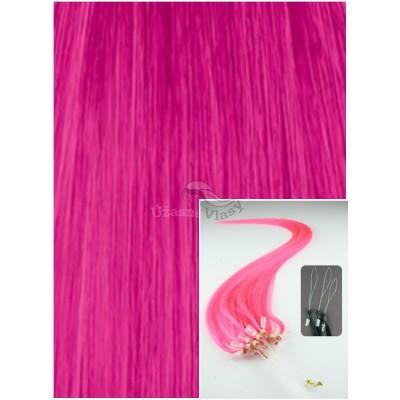 Micro ring vlasy, 50 cm 0,5g/pr., 50 pramenů - RŮŽOVÉ
