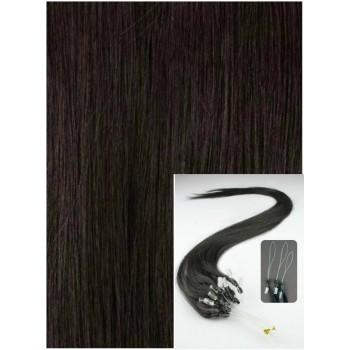 Micro ring vlasy, 60 cm 0,7g/pr., 50 pramenů - PŘÍRODNĚ ČERNÉ