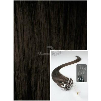 Micro ring vlasy, 60 cm 0,7g/pr., 50 pramenů - TMAVĚ HNĚDÉ