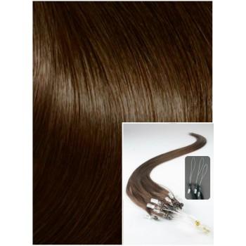 Micro ring vlasy, 60 cm 0,7g/pr., 50 pramenů - STŘEDNĚ HNĚDÉ