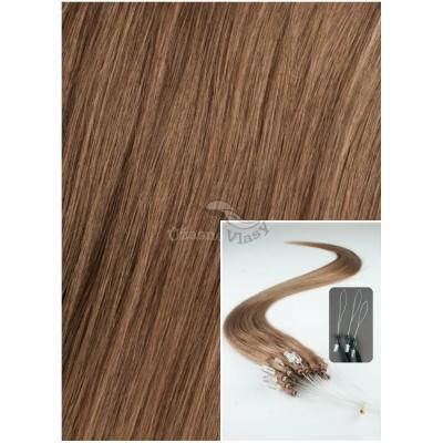 Micro ring vlasy, 60 cm 0,7g/pr., 50 pramenů - SVĚTLE HNĚDÉ