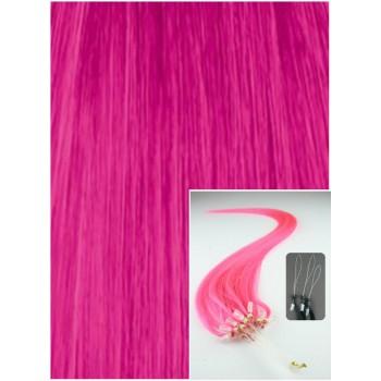 Micro ring vlasy, 60 cm 0,7g/pr., 50 pramenů - RŮŽOVÉ