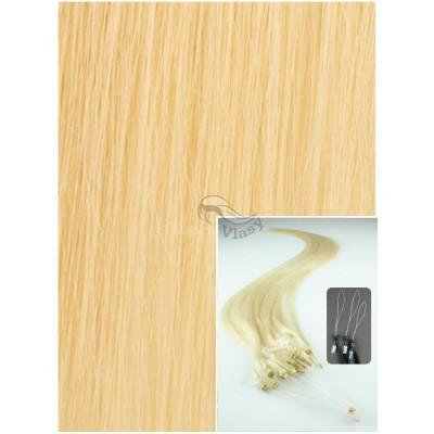 Micro ring vlasy, 60 cm 0,5g/pr., 50 pramenů - NEJSVĚTLEJŠÍ BLOND