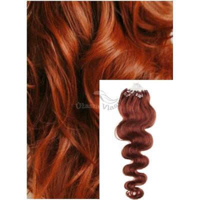 Vlnité micro ring vlasy, 50 cm 0,7g/pr., 50 pramenů - MĚDĚNÉ