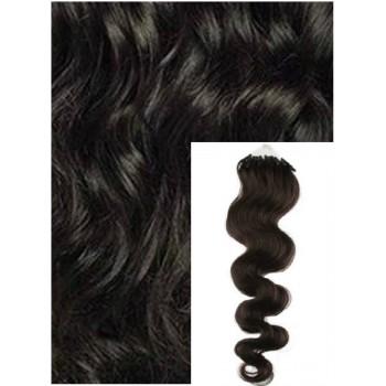 Vlnité micro ring vlasy, 50 cm 0,5g/pr., 50 pramenů - PŘÍRODNĚ ČERNÉ