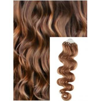 Vlnité micro ring vlasy, 50 cm 0,5g/pr., 50 pramenů - SVĚTLE HNĚDÉ