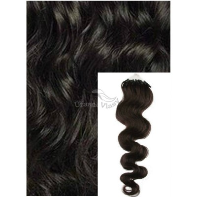 Vlnité micro ring vlasy, 60 cm 0,7g/pr., 50 pramenů - PŘÍRODNĚ ČERNÉ