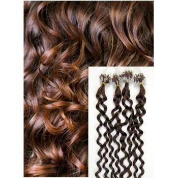 Kudrnaté micro ring vlasy, 50 cm 0,5g/pr., 50 pramenů - STŘEDNĚ HNĚDÉ