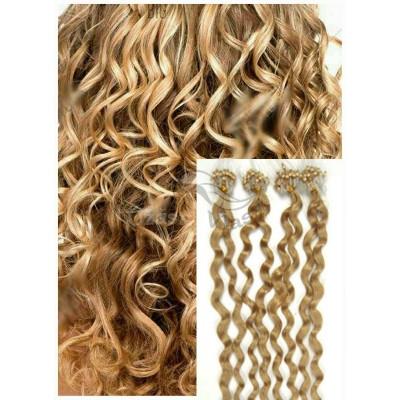 Kudrnaté micro ring vlasy, 50 cm 0,5g/pr., 50 pramenů - PŘÍRODNÍ BLOND