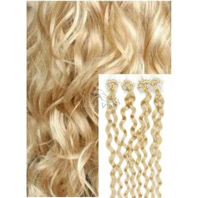 Kudrnaté micro ring vlasy, 50 cm 0,5g/pr., 50 pramenů - NEJSVĚTLEJŠÍ BLOND