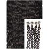 Kudrnaté micro ring vlasy, 50 cm 0,5g/pr., 50 pramenů - TMAVĚ HNĚDÉ