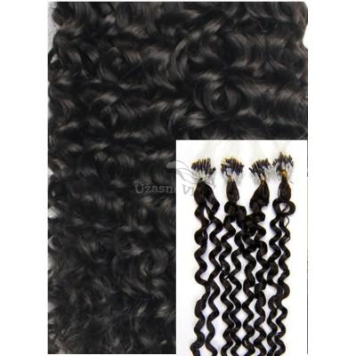 Kudrnaté micro ring vlasy, 60 cm 0,7g/pr., 50 pramenů - PŘÍRODNĚ ČERNÉ