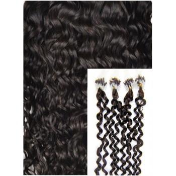 Kudrnaté micro ring vlasy, 60 cm 0,7g/pr., 50 pramenů - TMAVĚ HNĚDÉ