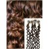Kudrnaté micro ring vlasy, 60 cm 0,7g/pr., 50 pramenů - STŘEDNĚ HNĚDÉ