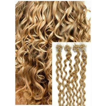 Kudrnaté micro ring vlasy, 60 cm 0,7g/pr., 50 pramenů - PŘÍRODNÍ BLOND