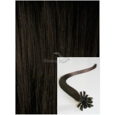 Vlasy na keratin, 40 cm 0,5g/pr., 50 pramenů - TMAVĚ HNĚDÉ