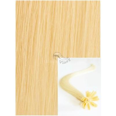 Vlasy na keratin, 40 cm 0,5g/pr., 50 pramenů - NEJSVĚTLEJŠÍ BLOND