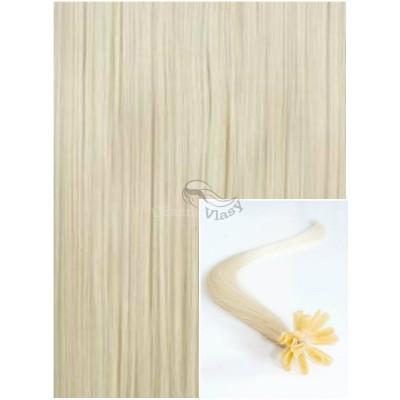 Vlasy na keratin, 40 cm 0,5g/pr., 50 pramenů - PLATINOVÉ