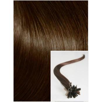 Vlasy na keratin, 40 cm 0,7g/pr., 50 pramenů - STŘEDNĚ HNĚDÉ