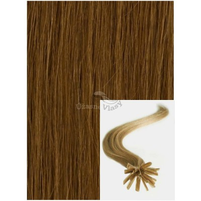 Vlasy na keratin, 40 cm 0,7g/pr., 50 pramenů - SVĚTLE HNĚDÉ