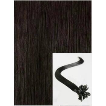 Vlasy na keratin, 50 cm 0,7g/pr., 50 pramenů - PŘÍRODNĚ ČERNÉ