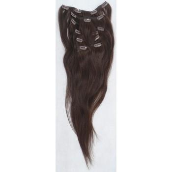Středně hnědé vlasy k prodloužení - Clip in set, 8 ks, 50 cm (004)
