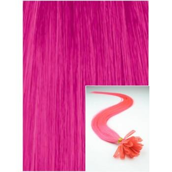 Vlasy na keratin, 60 cm 0,5g/pr., 50 pramenů -RŮŽOVÉ