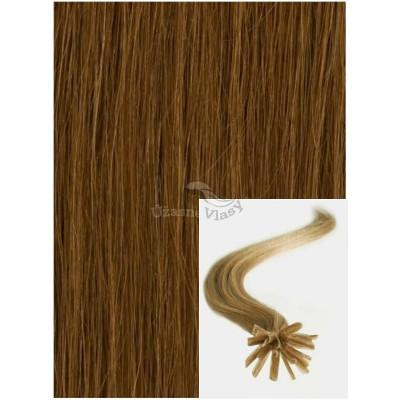 Vlasy na keratin, 60 cm 0,7g/pr., 50 pramenů - SVĚTLE HNĚDÉ