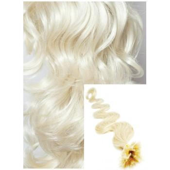 Vlnité vlasy na keratin, 50 cm 0,5g/pr., 50 pramenů - PLATINOVÉ
