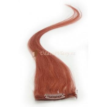 Rudo hnědé vlasy k prodloužení - Clip-in proužky, 50 cm (350)