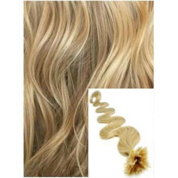Vlnité vlasy na keratin, 60 cm 0,5g/pr., 50 pramenů - PŘÍRODNÍ BLOND