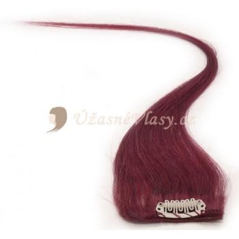 Burgundské vlasy k prodloužení - Clip-in proužky, 50 cm (BG)