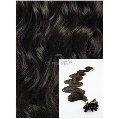 Vlnité vlasy na keratin, 60 cm 0,7g/pr., 50 pramenů - PŘÍRODNĚ ČERNÉ