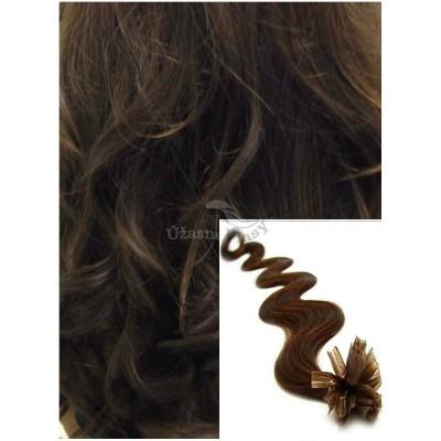 Vlnité vlasy na keratin, 60 cm 0,7g/pr., 50 pramenů - STŘEDNĚ HNĚDÉ
