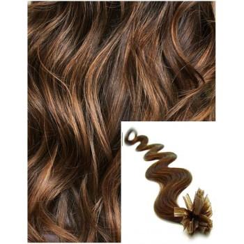 Vlnité vlasy na keratin, 60 cm 0,7g/pr., 50 pramenů - SVĚTLEJŠÍ HNĚDÉ