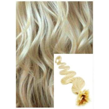 Vlnité vlasy na keratin, 60 cm 0,7g/pr., 50 pramenů - NEJSVĚTLEJŠÍ BLOND