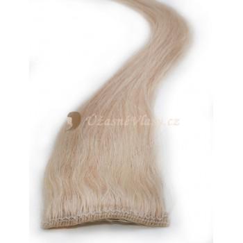 Nejsvětlejší blond vlasy k prodloužení - Clip-in proužky, 50 cm (613)