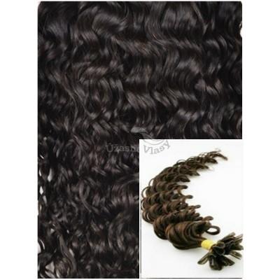 Kudrnaté vlasy na keratin, 50 cm 0,5g/pr., 50 pramenů - TMAVĚ HNĚDÉ