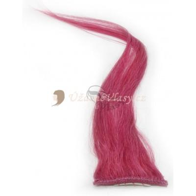 Fuchsiové vlasy k prodloužení - Clip in prameny, 50 cm (FOXIA)