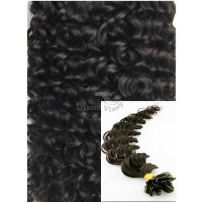 Kudrnaté vlasy na keratin, 50 cm 0,7g/pr., 50 pramenů - PŘÍRODNĚ ČERNÉ